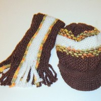 Two-Tone Metallic Knit Scarf & Hat Set Brown / White