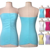 Women Sexy Ruched Strapless Long Bandeau Stretch Tube Top Waistband & Self Bra