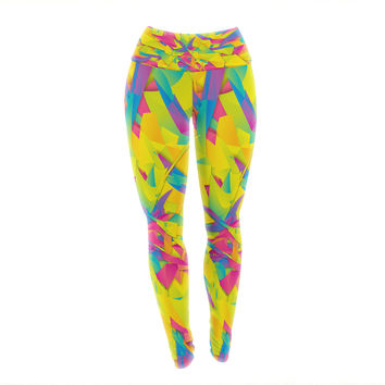 "Danny Ivan ""Bubble Gum Explosion"" Pink Yellow Yoga Leggings"