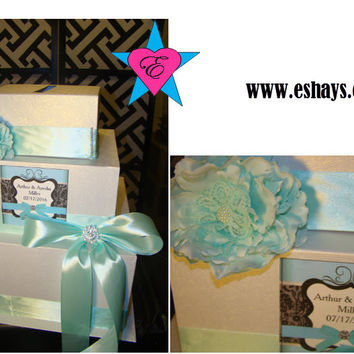 Tiffany Blue Ribbon Floral Wedding Card Box Money Holder