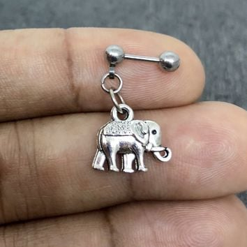 316L Surgical Stainless Solid Steel Elephant, 18g, 16g, 14g Helix, cartilage, tragus earring