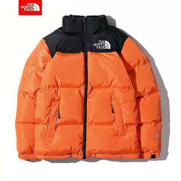 """The North Face"" Winter Fashion Couple Warm Zipper Cardigan Cotton Jacket Coat Windbreaker Orange"