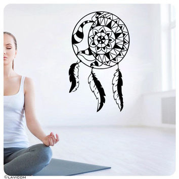 Sun and Moon Wall Decal Sunshine Dual Symbol Feather Vinyl Sticker Decor SM174