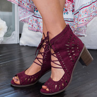 Summer Girl Cut Out Lace Up Booties (Wine)