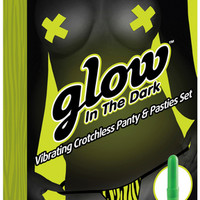 Glow In The Dark Vibrating Crotchless Panty And Pasties Set  Zebra