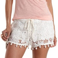 Ivory High-Waisted Pom-Pom Lace Shorts by Charlotte Russe