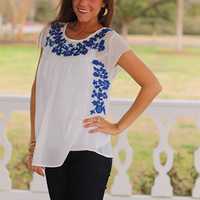 A Floral Touch Blouse, Royal