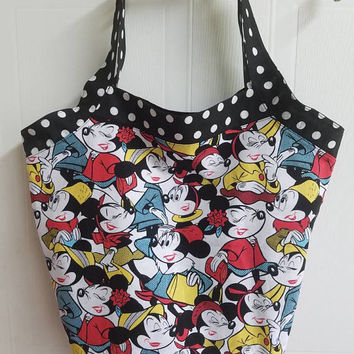 Minnie - mouse - fashionista - disney - print - polka - dot - bucket - style - handbag - purse