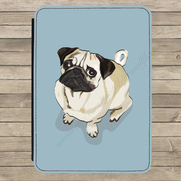 Pug Dog Illustration Kindle Paperwhite Tablet PU Leather Flip Case Cover