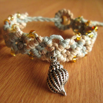Shell Bracelet, Beach Jewelry, Hemp Jewelry, Beaded Hemp Cuff Bracelet