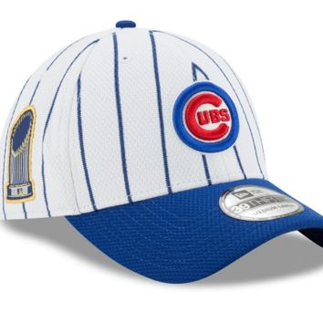 Chicago Cubs 2016 World Series Champions Pinstripe 39THIRTY Flex Hat By New Era