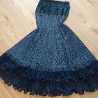 Dark  Blue  - Maxi Skirt - Tulle, chiffon and lace combinatio.  Dress - Very chic skirt......Size: S - M