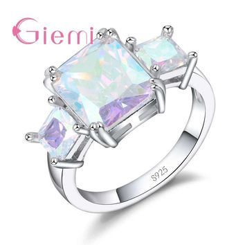GIEMI Hot Sell Beautiful Rainbow Stone Women Jewelry Rings Best 925 Sterling Silver Accessories For Girl/Friends Birthday Party
