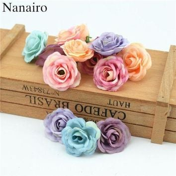 ONETOW 100pcs 3cm Mini Rose Cloth Artificial Flower For Wedding Party Home Room Decoration Ma