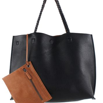 Reversible Vegan Leather Tote with Pouch
