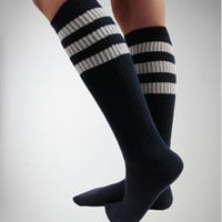 Navy with White Athletic Stripe Knee High Socks