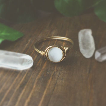 Moon glow ring - bohemian jewelry - wire wrapped ring - unique rings - boho rings - cute rings - gypsy ring - bohemian rings - hippie ring
