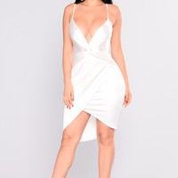 Tenley Satin Dress - White