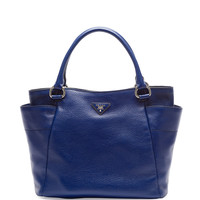 Daino Side-Pocket Tote Bag, Navy (Inchiostro) - Prada