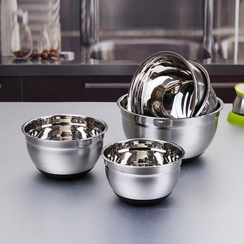 2017 Thicken Stainless Steel Silicone Bottom Prevent Splash Egg Beating Pan/Mixing Bowl/Kneading Basin Fermentation Pot Tools
