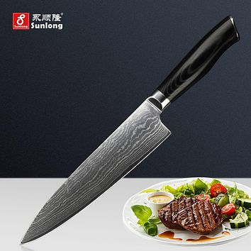 Sunlong 8 inch chef knife 67layers Japanese Damascus steel kitchen knife sharp cleaver slicing knife Meat/Vegetable Knives