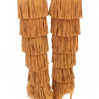 Chestnut Fringe Tiered High Heel Boots Faux Suede