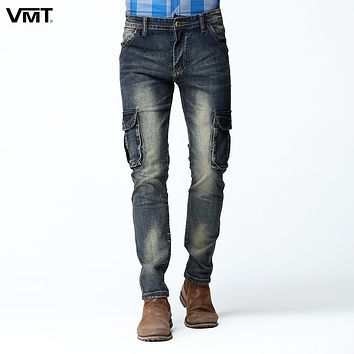 New Men Cargo Jean Pants Dark Washed Four Pockets Zipper Fly Slim Skinny Stretch Jeans Deep Blue