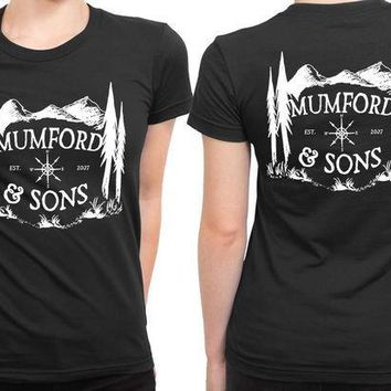 ESBH9S Mumford And Sons Logo Est Mountain Background 2 Sided Womens T Shirt