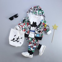 New Kid Baby Boy Girls Clothing Sets Fashion Print Cartoon Casual Toddler Girls Baby Suit for Boys Coat + T shirt + Pants1 - 4 Y