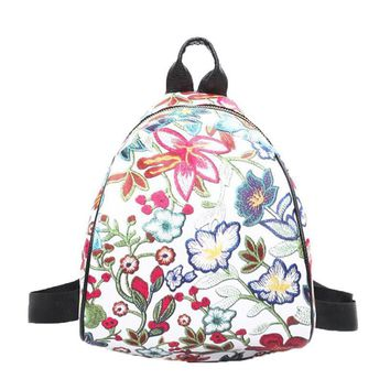 Female Backpack Printing Backpack Mini Backpack Vintage Embroidery Women Flower Travel Bags Schoolbag Sirt Cantasi A7622
