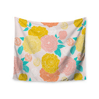 "Anneline Sophia ""Peonies Peach"" Yellow Pink Wall Tapestry"