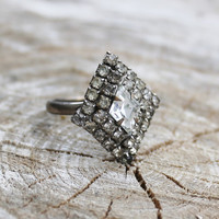 Vintage Silver Rhinestone Ring in Diamond Shaped Setting