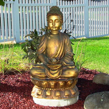 Electric Buddha Garden Fountain with LED LIght