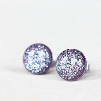 Blue-Lavender Confetti Sparkle Post Earrings