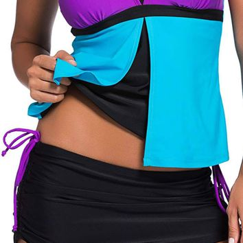 Black Side-Tie Ruched Skirt Purple Brief Swim Bottom