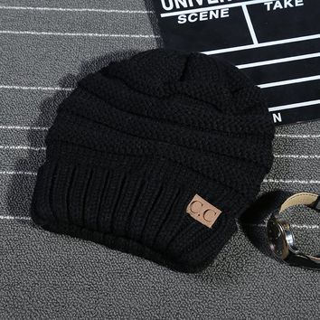 Women's Black CC Knit Winter Beanies Hat