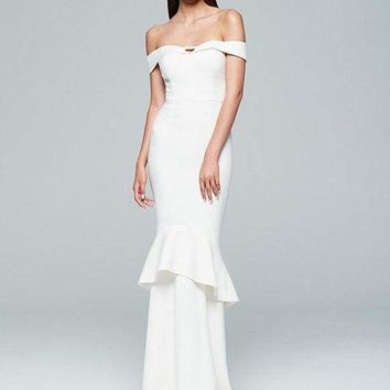 Cassi White Off Shoulder Gown