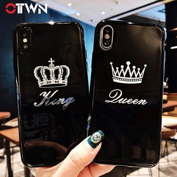Trendy Ottwn Case For iPhone X 7 Plus Crown Letter King Queen For iPhone 8 6 6s Plus X Phone Cases Soft TPU Silicone Back Cover Coque AT_94_13