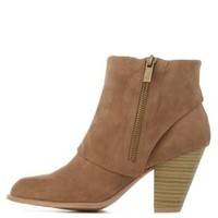 Taupe Qupid Cuffed Chunky Heel Booties by Qupid at Charlotte Russe