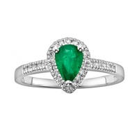 The Regal Collection 14k White Gold Genuine Emerald & 1/8-ct. T.W. IGL Certified Diamond Teardrop Ring (Green)