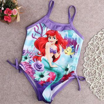 Ariel Dress Baby Girls Mermaid Bikini One-piece Swimwear Swimsuit Swimming Bikini Set Little Mermaid Costume Purple 2-6Y
