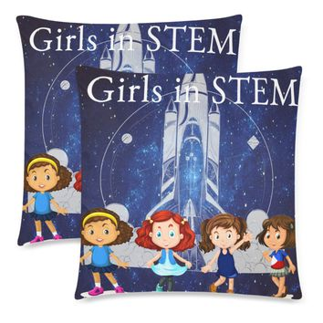 """Girls in STEM Throw Pillow Covers 18""""x 18"""" (Set of 2)"""