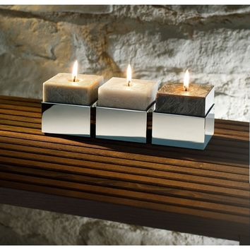 BK KNH Chrome Square Jar Candle Holder Set of 3 W/ Scented Candles Aromatic