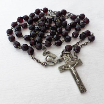 Antique French, Red Silver Rosary