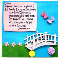 Christian Verse Art.  For I know the plans I have for you, declares the Lord, plans to prosper you and not harm you..  Jer 29:11