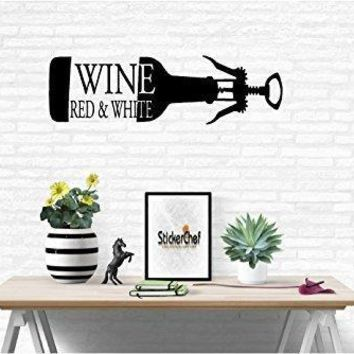 Red White Wine Words Quote Home Decor Vinyl Wall Art Stickers Decals Graphics