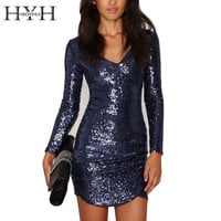 HYH HAOYIHUI 2016 Brand New Autumn Women Fashion Sexy V-neck Bodycon Dress Solid Dark Blue Sequined Long Sleeve Slim Mini Dress