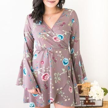 Soft Whispers Floral Wrap Dress