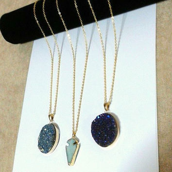 xl DRUZY pendant, gold plated CHAIN, long necklace, gemstone pendants, high fashion, avant garde