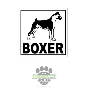 BOXER decal - dog car vinyl sticker - Boxer breed bias, #boxerlove - Smooshface United